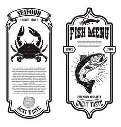 set seafood flyers with crab and fish design vector image