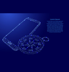 Smartphone and compass geographical research vector