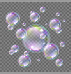soap bright flying colorful bubbles realistic vector image