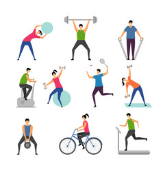 sport activities characters outdoor making some vector image