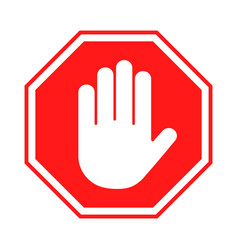 Stop sign red forbidding sign with human hand vector