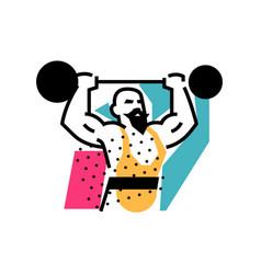 Strongman weightlifter circus icon logo vector