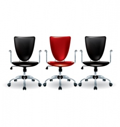 Three office chairs vector