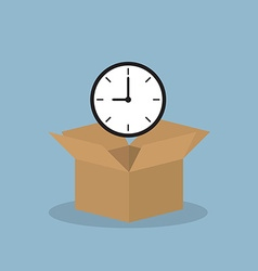 Time heart over opened box vector