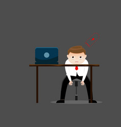 Tired businessman with low battery in office vector