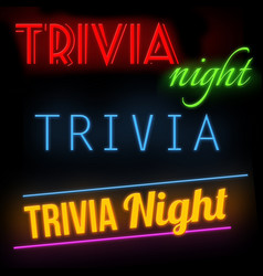 trivia night glowing neon sign vector image