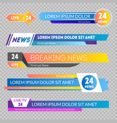 tv news banners on a transparent background vector image