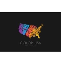 usa logo color map usa america logo design vector image