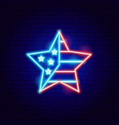 usa star neon sign vector image