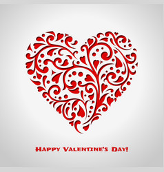 valentines day card with red ornate heart vector image
