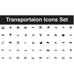 vehicles and transportation icon set solid black vector image
