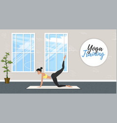 Yoga training banner in flat style vector