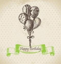 Balloons happy birthday hand drawn vector