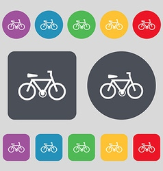 bicycle icon sign A set of 12 colored buttons Flat vector image vector image