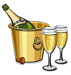 champagne bottle in bucket vector image