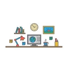 Creative designer workspace office desk vector