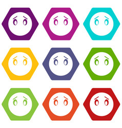 emoticon set color hexahedron vector image vector image