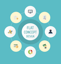 flat icons net income deadline act and other vector image vector image