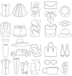 icons design concept of fashion look vector image vector image