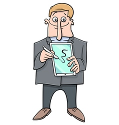 man presenting tablet pc vector image vector image