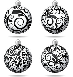 Set of Black and white Christmas balls vector image vector image