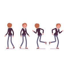 set of female manager in walking running poses vector image vector image