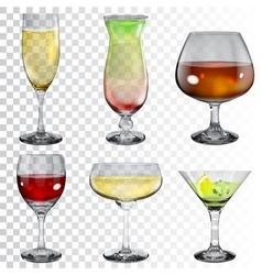 Set of transparent glass goblets vector