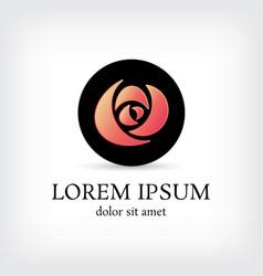 black circle rose curve logo design template vector image