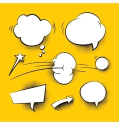 Comic cartoon speech bubbles with halftone shadows vector image vector image