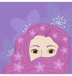 girl with pink hair vector image vector image
