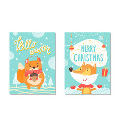 hello winter poster collection vector image vector image