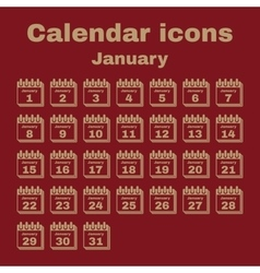 The calendar icon January symbol Flat vector image vector image