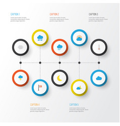 Air flat icons set collection of shower the vector