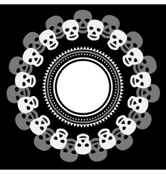 Black and white ethnic round frame with skulls vector image vector image