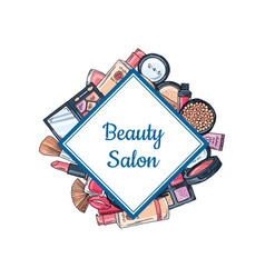 hand drawn makeup elements vector image