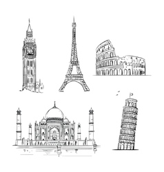 Hand drawn world landmark set vector image