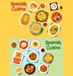 spanish cuisine national dishes icon set design vector image vector image