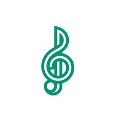 treble clef icon on white background vector image