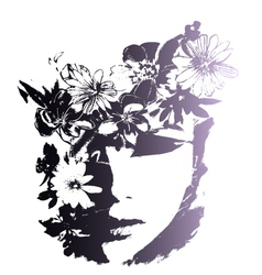 woman with decorative flowers vector image vector image