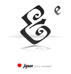 English alphabet in Japanese style - E - vector image