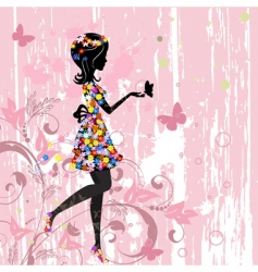 girl flowers vector image vector image
