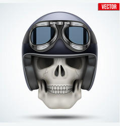 human skull with retro chopper helmet vector image vector image