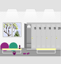 illstration with locker room in the fitness vector image