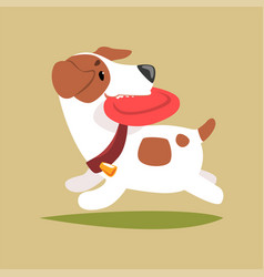 jack russell puppy character playing with disk vector image vector image