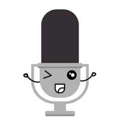 Retro microphone kawaii character vector