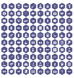 100 donation icons hexagon purple vector image
