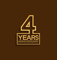 4 years anniversary design line style with square vector