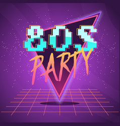 80s retro wave label vector image