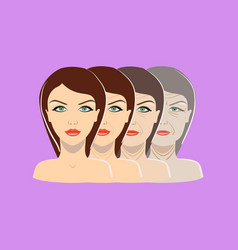 Aging process four stages face changing vector
