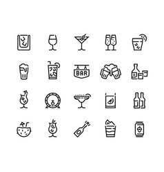 Alcohol drinks line icons cocktails beer bottle vector